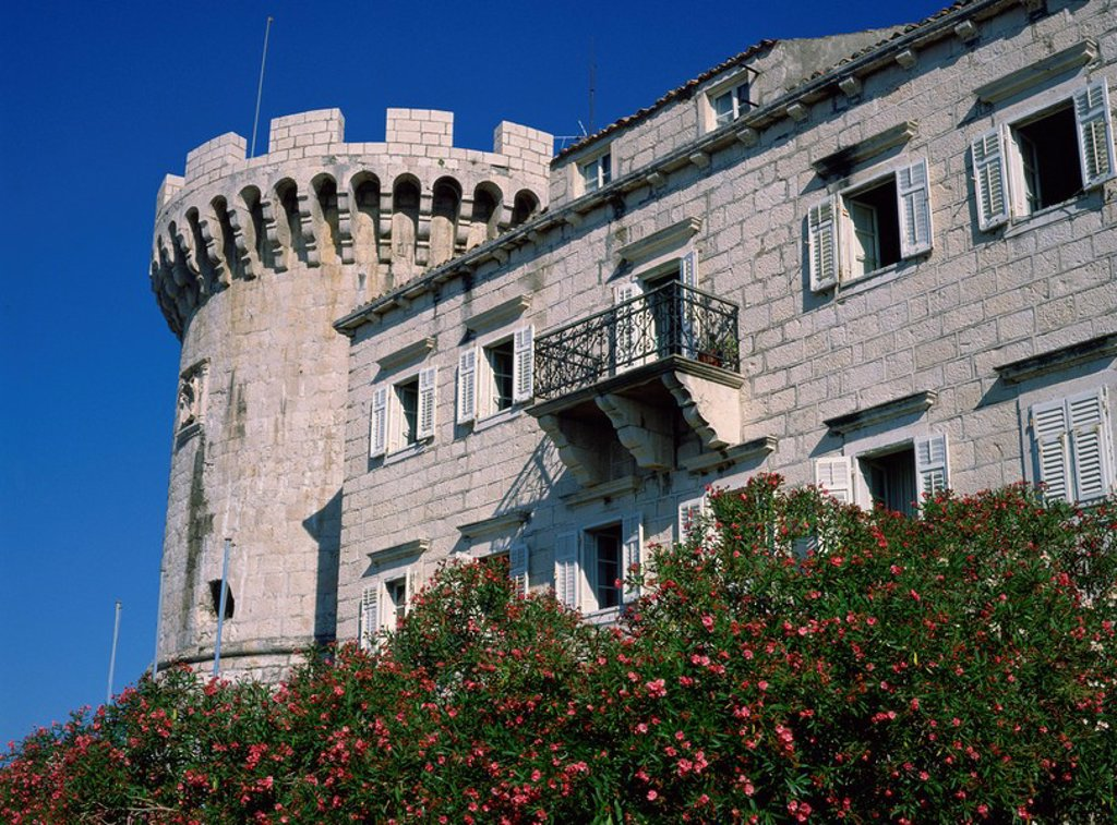 Medieval fortress showing Venetian influence in the building, at Korcula, Croatia, Europe : Stock Photo