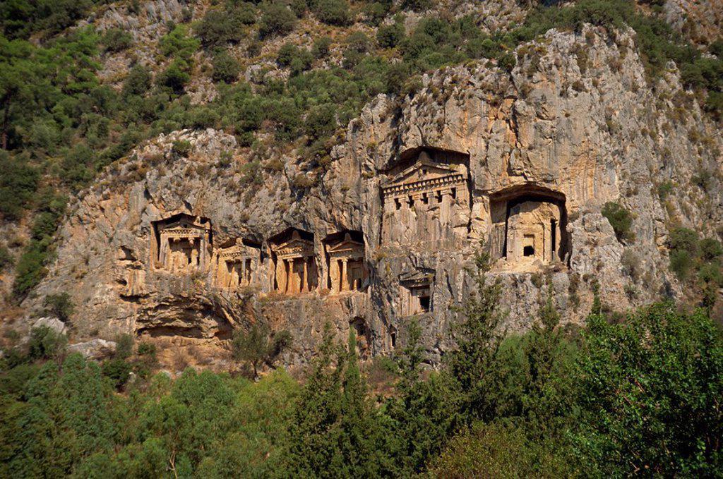 Stock Photo: 1890-30253 Lycian rock tombs, Dalyan, Anatolia, Turkey, Asia Minor, Eurasia