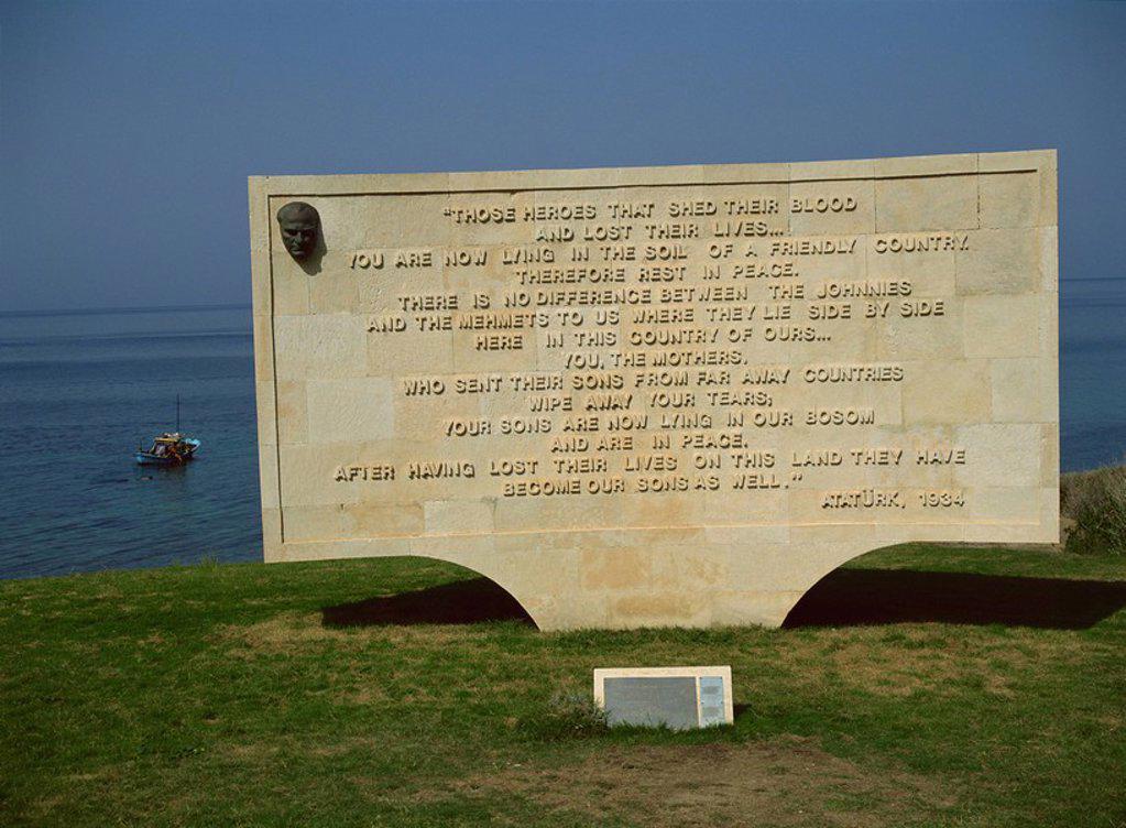 Stock Photo: 1890-30263 The Ataturk message, Anzac Cove Cemetery, near Gallipoli, Turkey, Europe