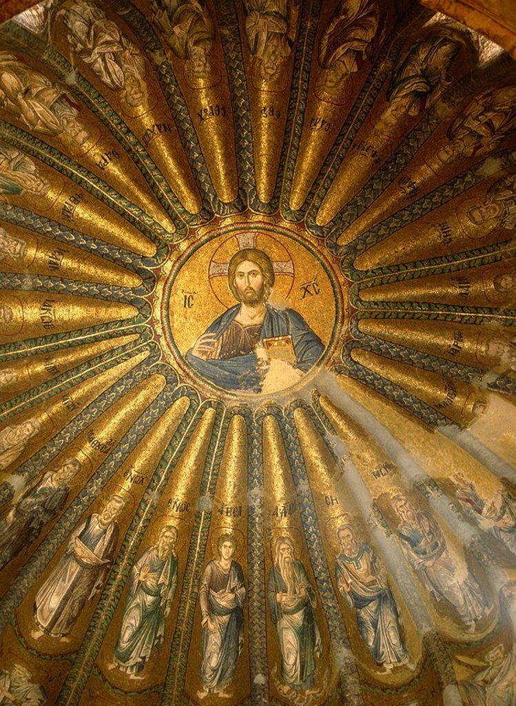 Stock Photo: 1890-30265 Christ Pantocrator mosaic St. Saviour in Chora, Kariye Camii Tile Church, Istanbul, Turkey, Europe