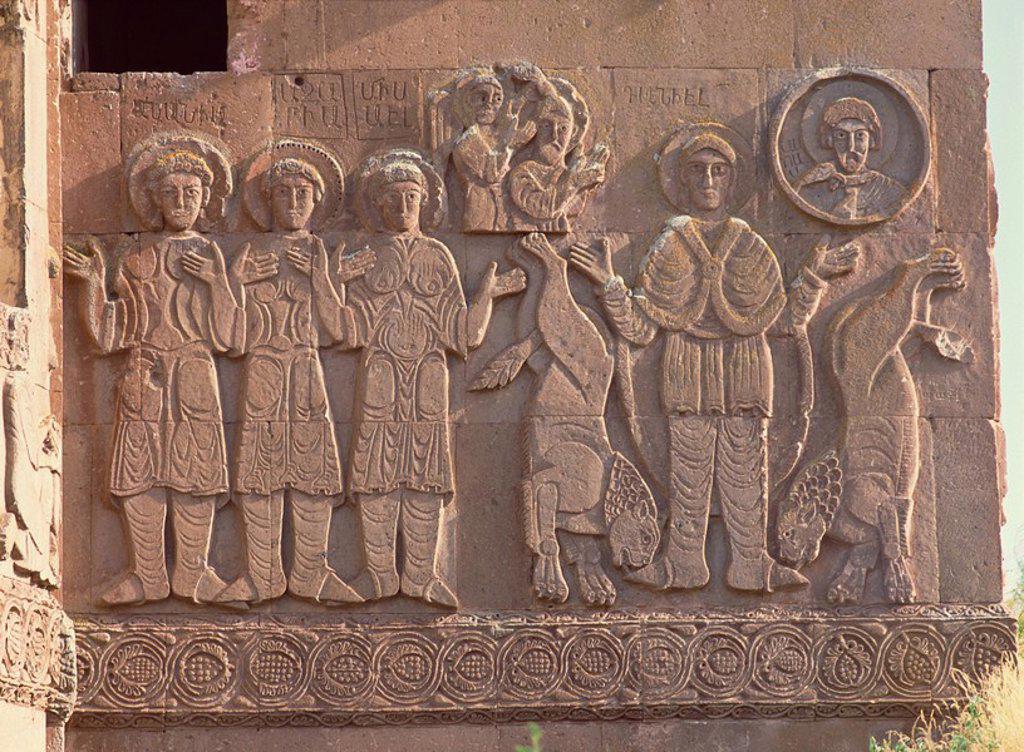 Stock Photo: 1890-30270 Akdamar Armenian church, built in 915 AD by King Gagik I, shown on right with two lions, Akdamar Island, Lake Van, Anatolia, Turkey, Asia Minor, Eurasia