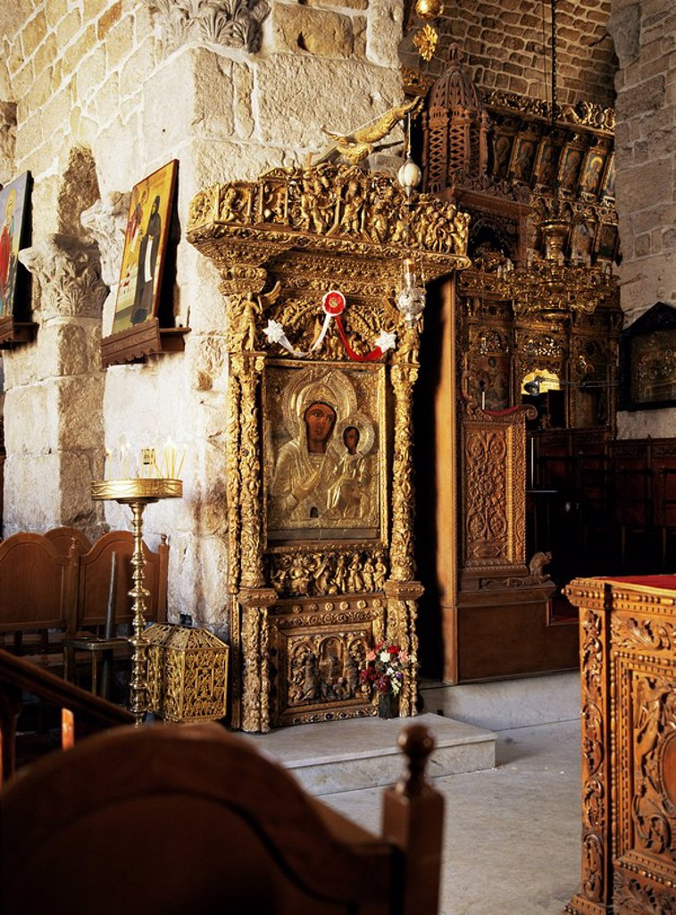 One of many icons in the church of St. Lazarus, Larnaca, Cyprus, Europe : Stock Photo