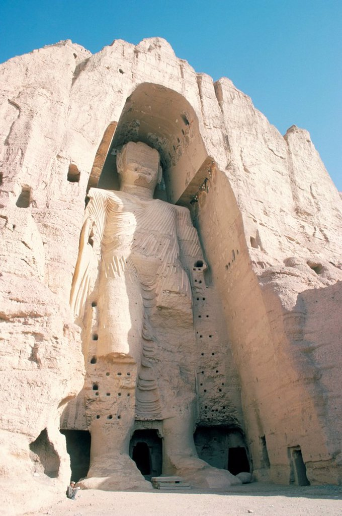 Stock Photo: 1890-30498 Defaced statue of the Buddha, 55m tall, carved in cliff by monks, since destroyed by the Taliban, UNESCO World Heritage Site, Bamiyan, Afghanistan, Asia