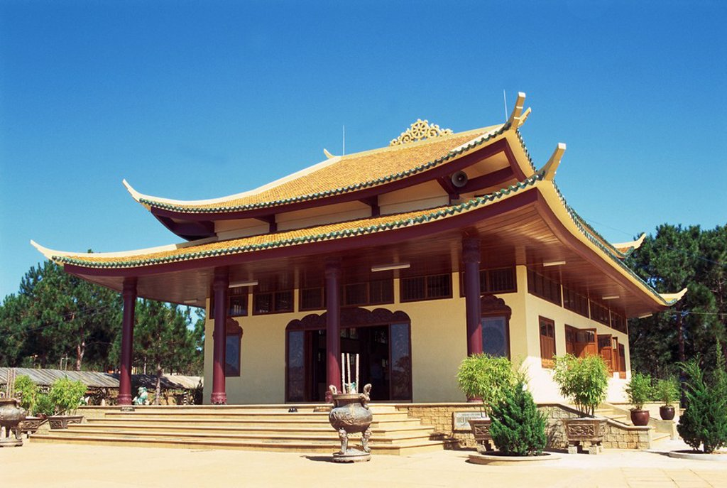 Stock Photo: 1890-30742 Exterior of the Thien Vien Truc Lam Buddhist Temple at Dalat, Vietnam, Indochina, Southeast Asia Asia