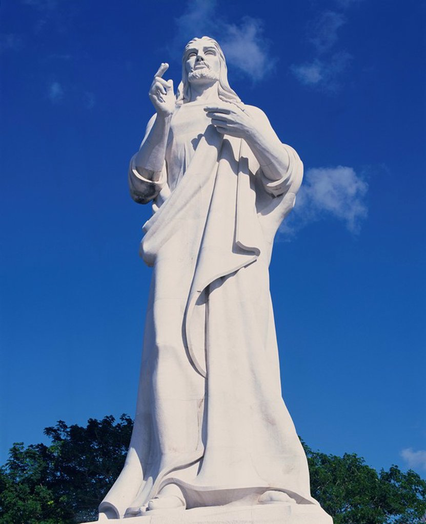 Stock Photo: 1890-31214 White stone statue of Jesus Christ in Havana, Cuba, West Indies, Central America