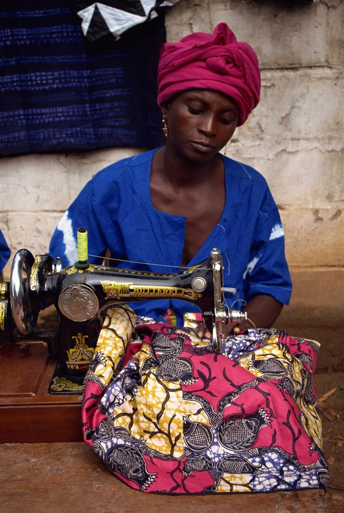 Stock Photo: 1890-31313 Village women´s group making clothes, The Gambia, West Africa, Africa