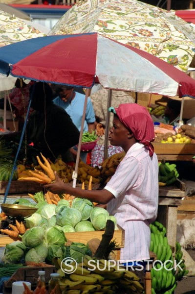 Stock Photo: 1890-3266 Saturday market, St. George´s, Grenada, Windward Islands, West Indies, Caribbean, Central America