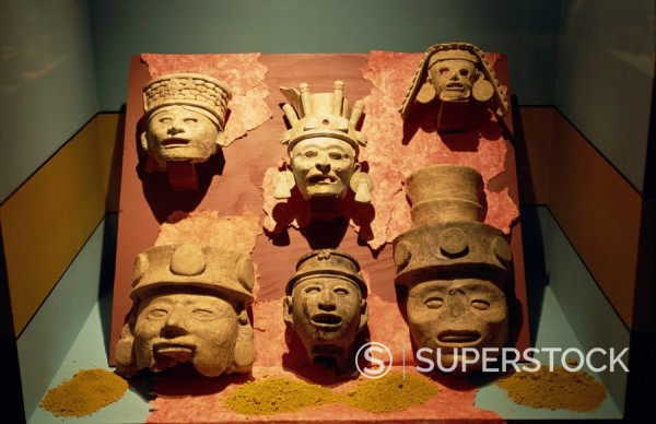 Stock Photo: 1890-32849 Mayan and other pre_Columbian artifacts, Museum of Anthropology and History, Merida, Yucatan, Mexico, North America