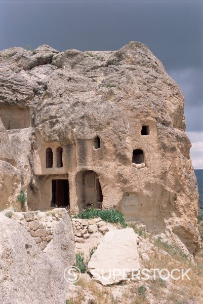 Cave dwellings, near Goreme, Cappadocia, Anatolia, Turkey, Asia Minor, Asia : Stock Photo
