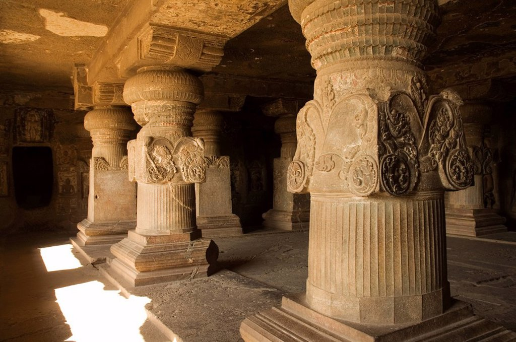 Stock Photo: 1890-33340 The Ellora Caves, temples cut into solid rock, UNESCO World Heritage Site, near Aurangabad, Maharashtra, India, Asia