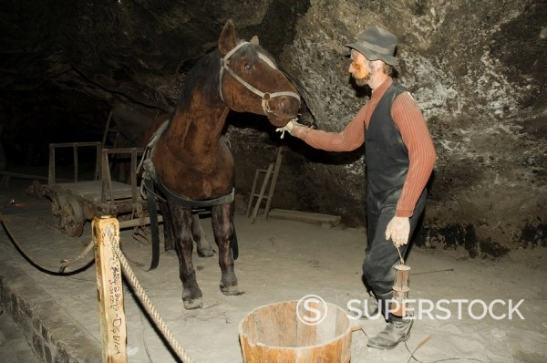 Scenes of working life in the Wieliczka Salt Mine, UNESCO World Heritage Site, near Krakow Cracow, Poland : Stock Photo