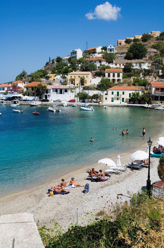 Assos, Kefalonia Cephalonia, Ionian Islands, Greece, Europe : Stock Photo