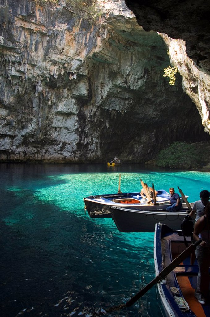Stock Photo: 1890-34341 Melisani Lake in cave where roof collapsed in an earthquake, Kefalonia Cephalonia, Ionian Islands, Greece, Europe