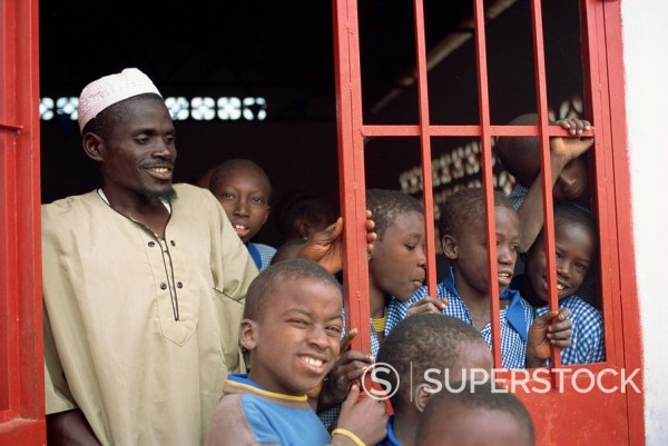 Village school, near Banjul, Gambia, West Africa, Africa : Stock Photo