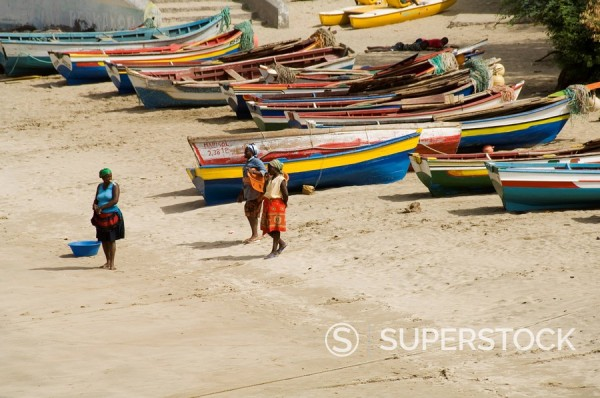 Stock Photo: 1890-35115 Fishing boats, Tarrafal, Santiago, Cape Verde Islands, Africa