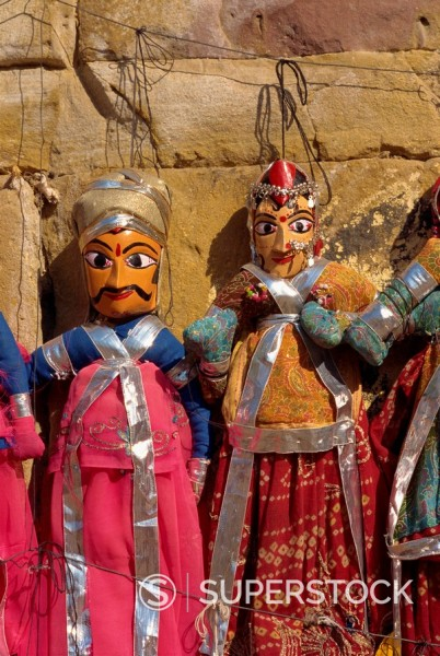 Puppets, Jaisalmer, Rajasthan state, India, Asia : Stock Photo