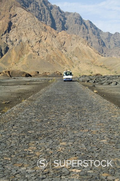 Cobblestone road in the volcanic caldera, Fogo Fire, Cape Verde Islands, Africa : Stock Photo
