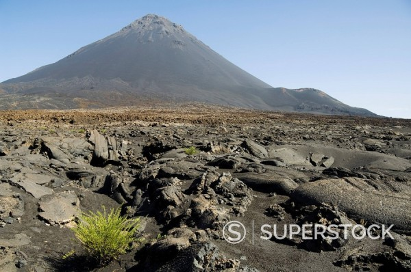 View from the caldera of the volcano of Pico de Fogo, Fogo Fire, Cape Verde Islands, Africa : Stock Photo