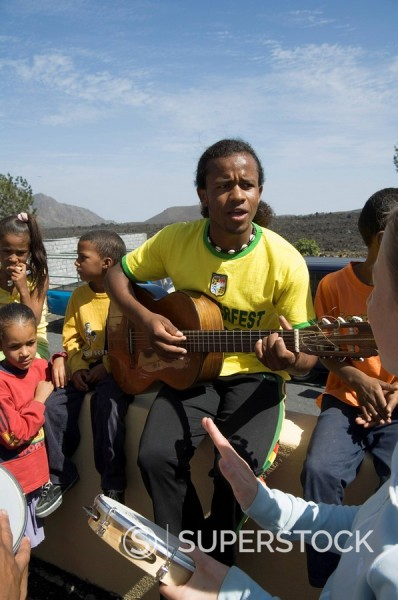 Musical event at local school in the volcanic caldera, Fogo Fire, Cape Verde Islands, Africa : Stock Photo