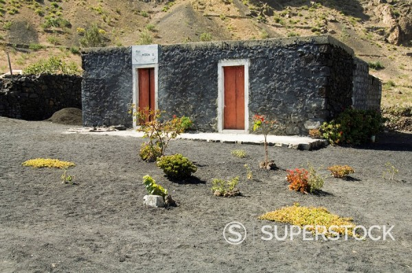 Stock Photo: 1890-35208 Typical house with attractive garden, in the volcanic caldera, Fogo Fire, Cape Verde Islands, Atlantic, Africa