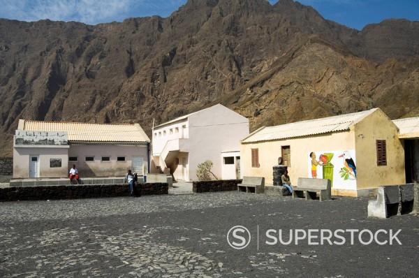 Stock Photo: 1890-35212 Local school in the volcanic caldera, Fogo Fire, Cape Verde Islands, Africa