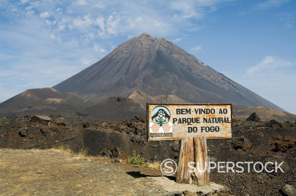 The volcano of Pico de Fogo in the background, Fogo Fire, Cape Verde Islands, Africa : Stock Photo