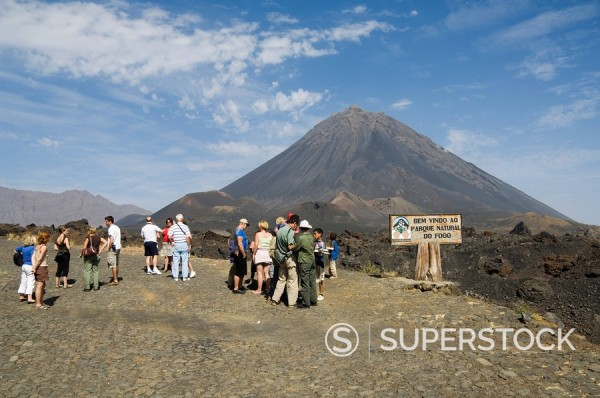 Tourists and the volcano of Pico de Fogo in the background, Fogo Fire, Cape Verde Islands, Africa : Stock Photo