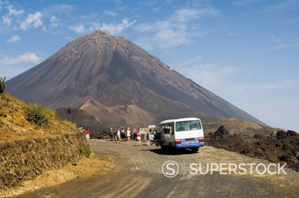 Stock Photo: 1890-35223 Tourists and the volcano of Pico de Fogo in the background, Fogo Fire, Cape Verde Islands, Africa