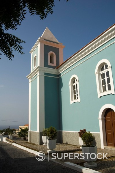 Roman Catholic church, Sao Filipe, Fogo Fire, Cape Verde Islands, Africa : Stock Photo