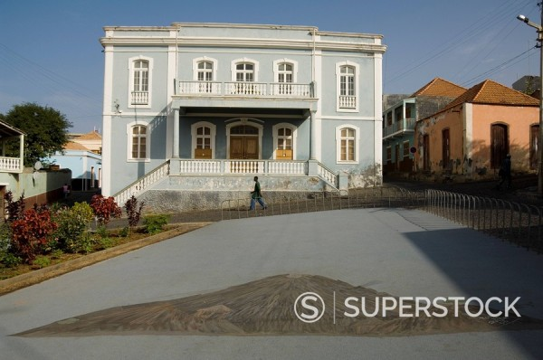 Stock Photo: 1890-35237 Old colonial style building, Sao Filipe, Fogo Fire, Cape Verde Islands, Africa