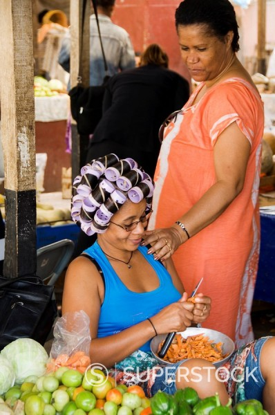 In the market, Sao Filipe, Fogo Fire, Cape Verde Islands, Africa : Stock Photo