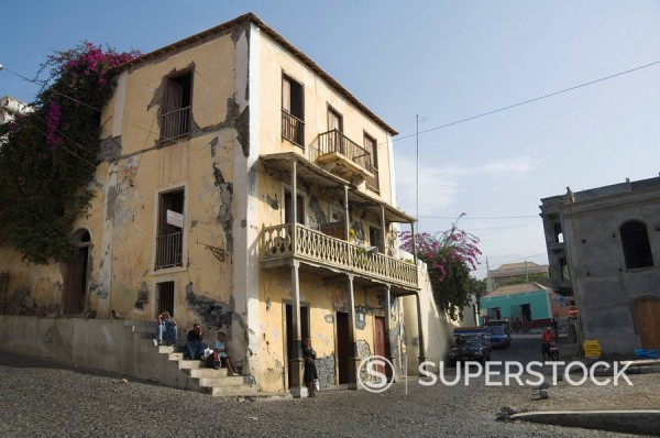 Sobrados or colonial house with veranda, Sao Filipe, Fogo Fire, Cape Verde Islands, Africa : Stock Photo