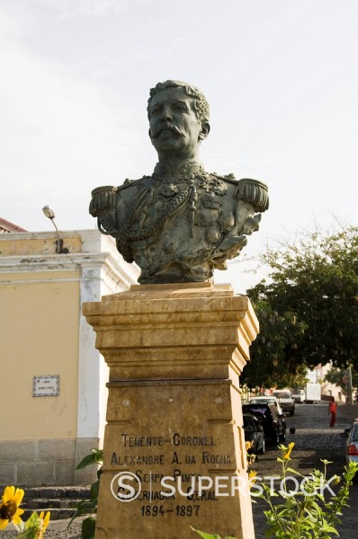Stock Photo: 1890-35244 Bust of former governor general, Sao Filipe, Fogo Fire, Cape Verde Islands, Africa