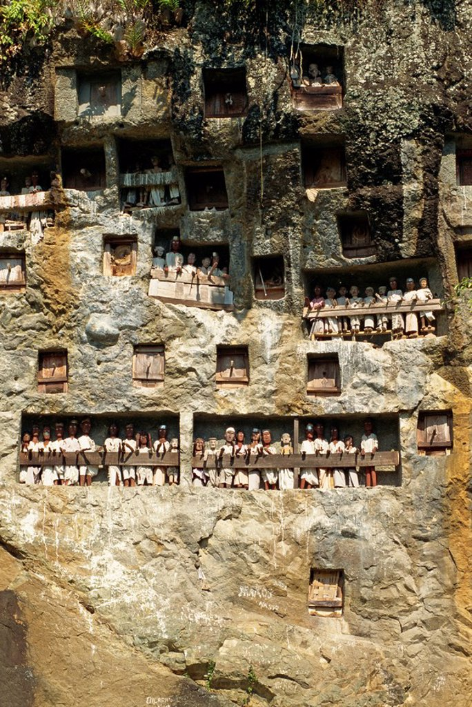 Stock Photo: 1890-35383 Lemo cliff tombs, Toraja area, Sulawesi, Indonesia, Southeast Asia, Asia