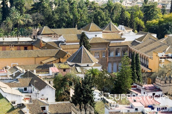 Stock Photo: 1890-35440 Real Alcazar, UNESCO World Heritage Site, viewed from the tower of La Giralda, Santa Cruz district, Seville, Andalusia Andalucia, Spain, Europe