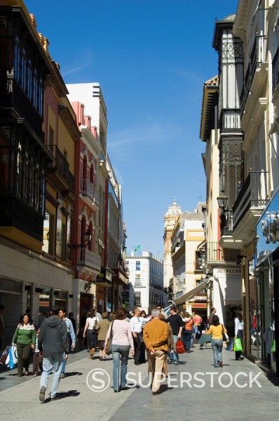 Stock Photo: 1890-35519 Main shopping district, Tetuan Street near Sierpes Street, Seville, Andalusia, Spain, Europe