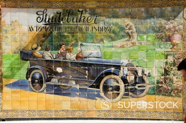 Stock Photo: 1890-35520 Old tile ad for Studbaker car, Tetuan Street near Sierpes Street, Seville, Andalusia, Spain, Europe