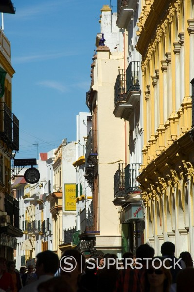 Stock Photo: 1890-35529 Main shopping district, Sierpes Street, Seville, Andalusia, Spain, Europe