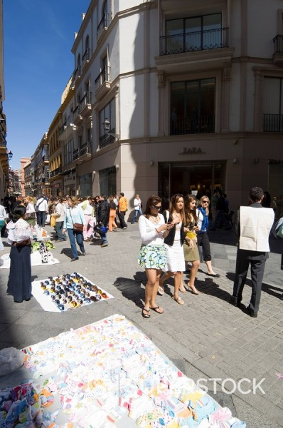 Main shopping district, Tetuan Street near Sierpes Street, Seville, Andalusia, Spain, Europe : Stock Photo