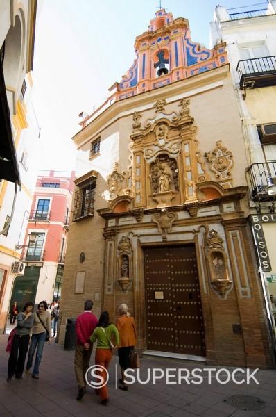 Church near Sierpes Street, Seville, Andalusia, Spain, Europe : Stock Photo