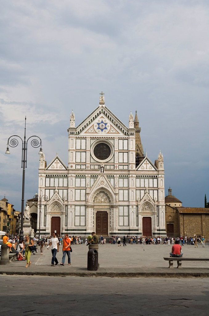 Stock Photo: 1890-36221 Santa Croce church, Florence Firenze, UNESCO World Heritage Site, Tuscany, Italy, Europe