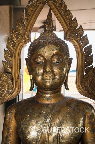 Stock Photo: 1890-36773 Buddha at Sukhothai Traimit temple, Bangkok, Thailand, Southeast Asia, Asia