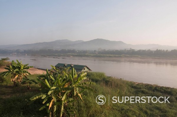 Stock Photo: 1890-36796 Mekong River, looking across to Laos on other bank, Golden Triangle, Thailand, Southeast Asia, Asia