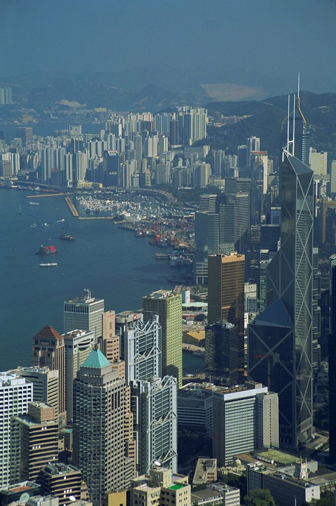Stock Photo: 1890-37061 Aerial view of Hong Kong Harbour, China, Asia