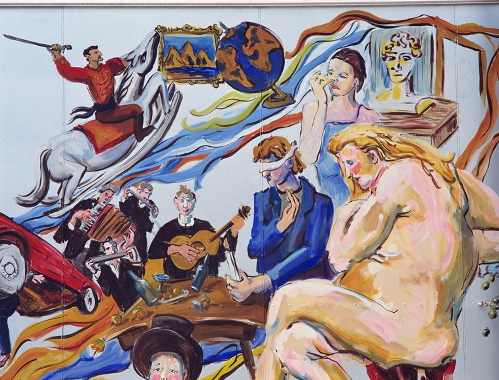 Mural of a nude woman, blindfolded man and musicians painted on the Berlin Wall in Berlin, Germany, Europe : Stock Photo