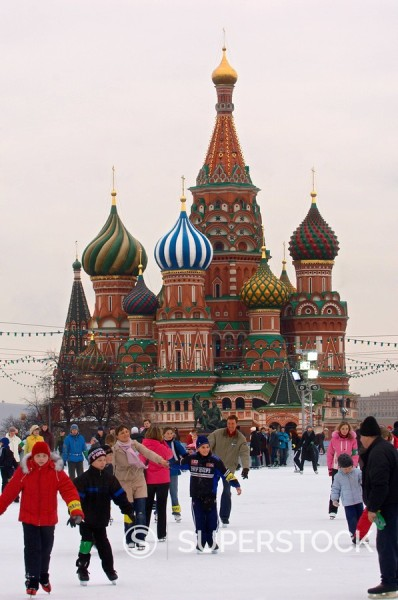 Ice skating in Red Square, UNESCO World Heritage Site, Moscow, Russia, Europe : Stock Photo