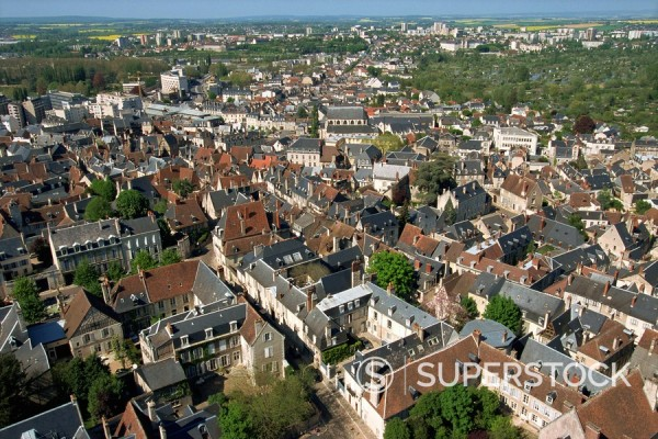 View of city from North tower of the Cathedral, Bourges, Berry, Centre, France, Europe : Stock Photo