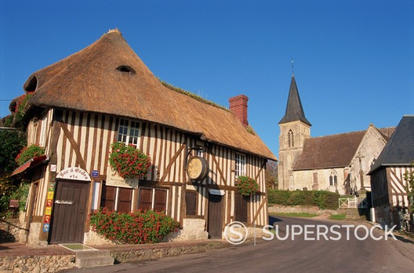 Auberge des 2 Tonneaux, Pierrefitte en Auge, Vallee d´Auge, Basse Normandie, France, Europe : Stock Photo