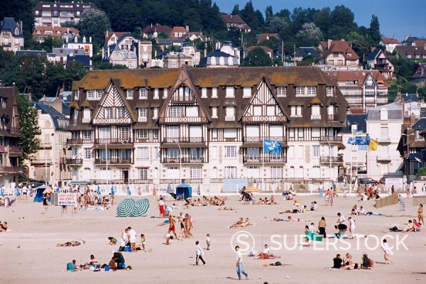 The beach, Trouville, Basse Normandie Normandy, France, Europe : Stock Photo