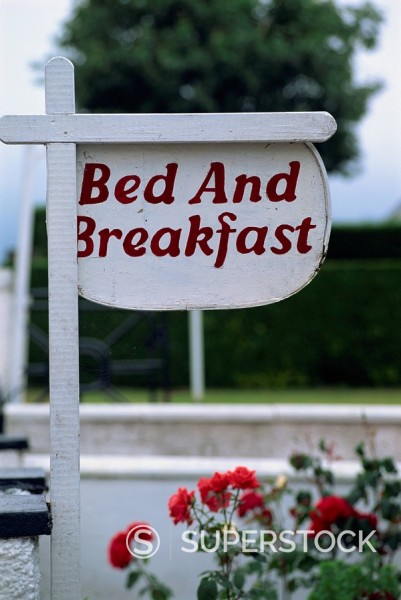 Stock Photo: 1890-38111 Bed and Breakfast sign, Trossachs, Scotland, United Kingdom, Europe